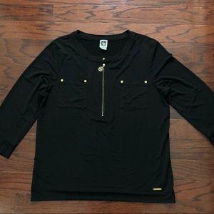 Anne Klein long sleeve black blouse